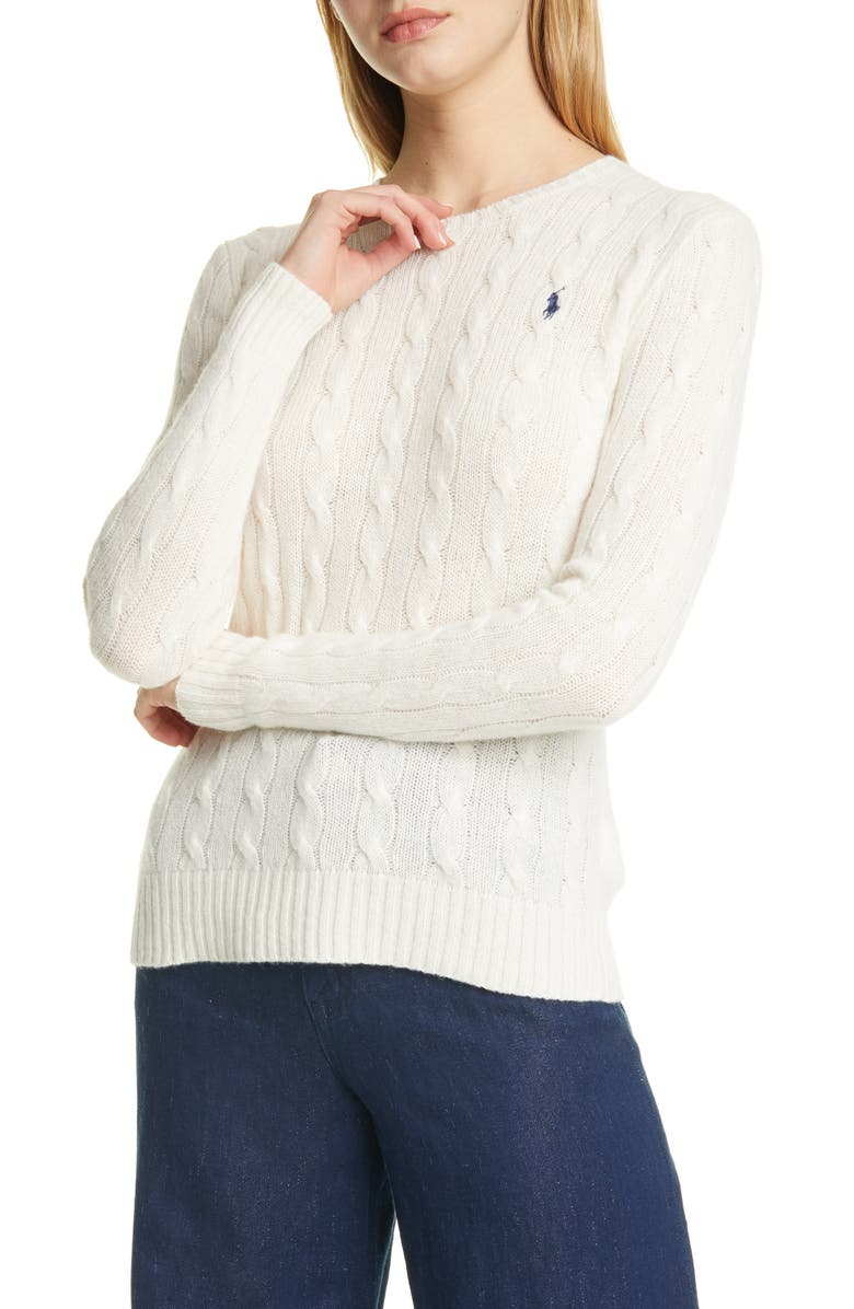 POLO RALPH LAUREN Julianna Wool & Cashmere Cable Sweater, Main, color, CREAM