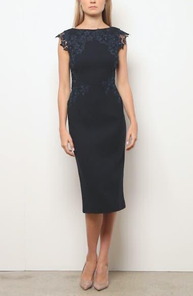 Lace Trim Stretch Wool Sheath Dress, video thumbnail
