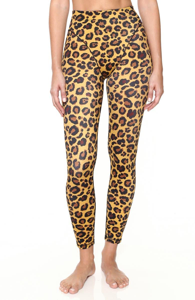 ADAM SELMAN SPORT French Cut Leopard Leggings, Main, color, 200