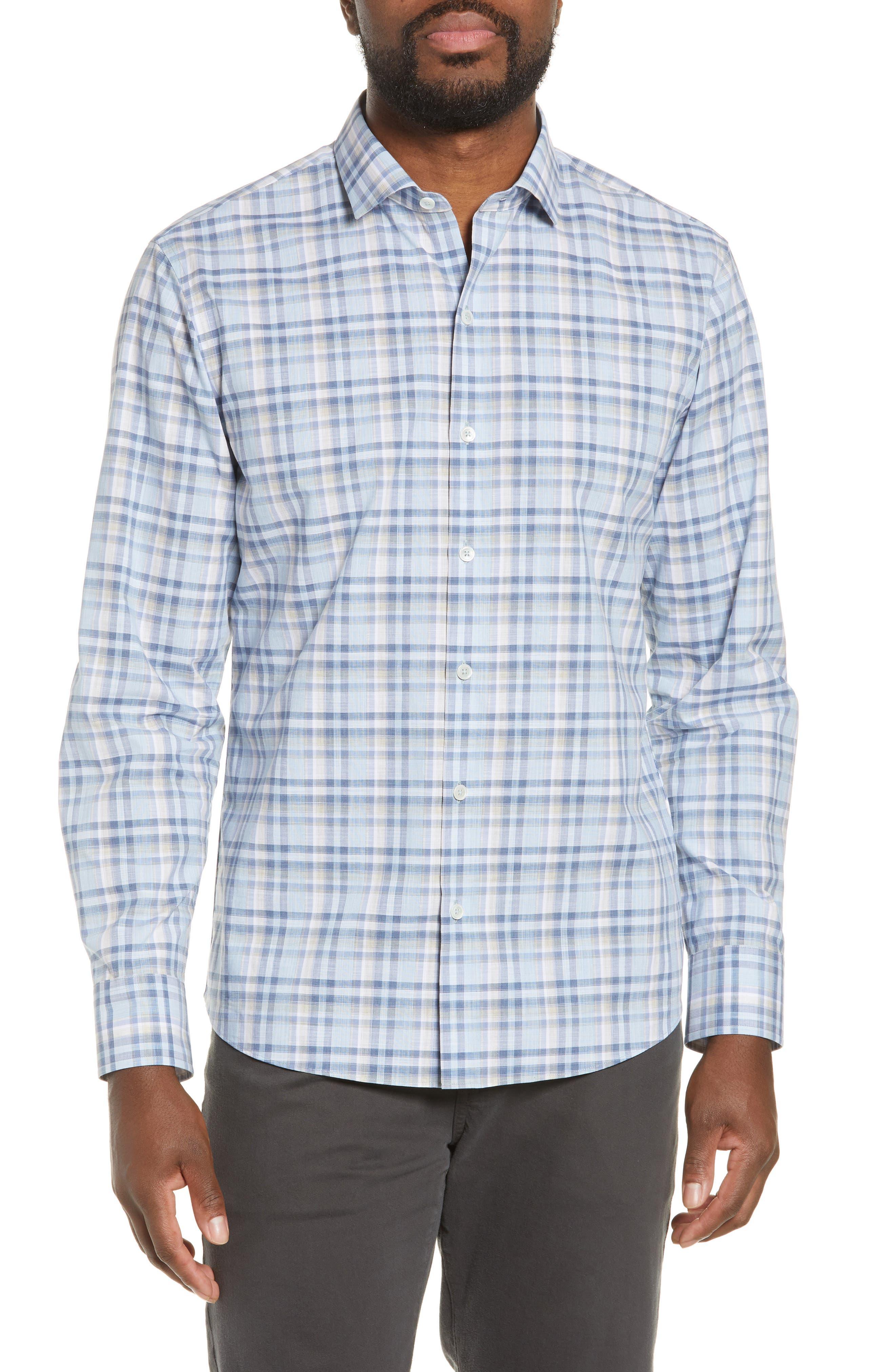 ,                             Anthony Regular Fit Plaid Sport Shirt,                             Main thumbnail 1, color,                             LT BLUE