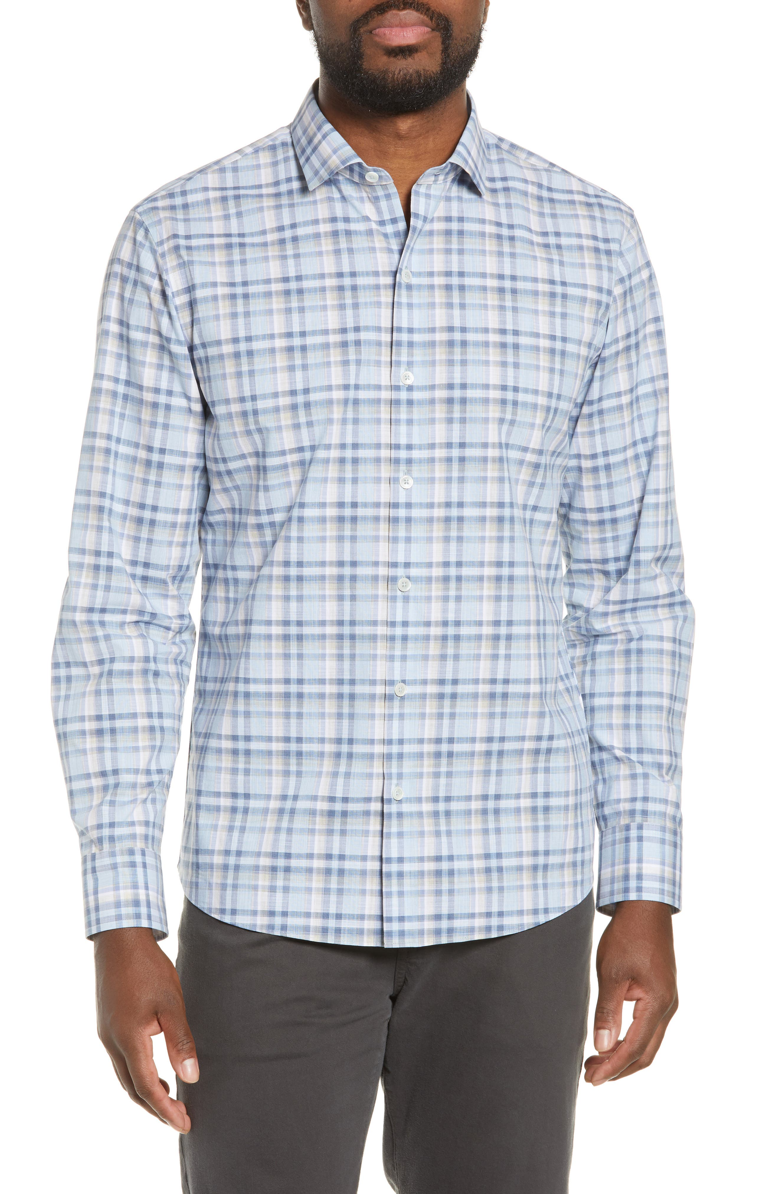 Anthony Regular Fit Plaid Sport Shirt, Main, color, LT BLUE