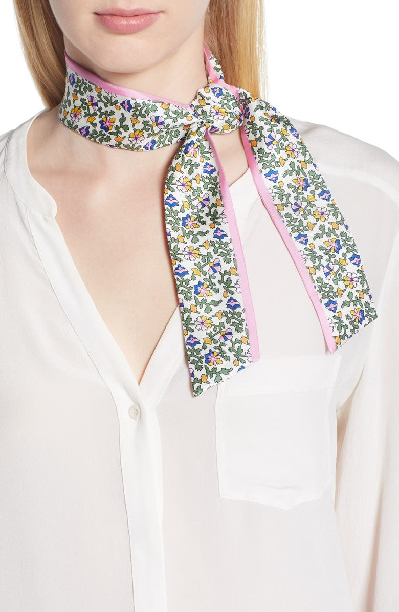TORY BURCH Wild Pansy Silk Twill Scarf, Main, color, 330
