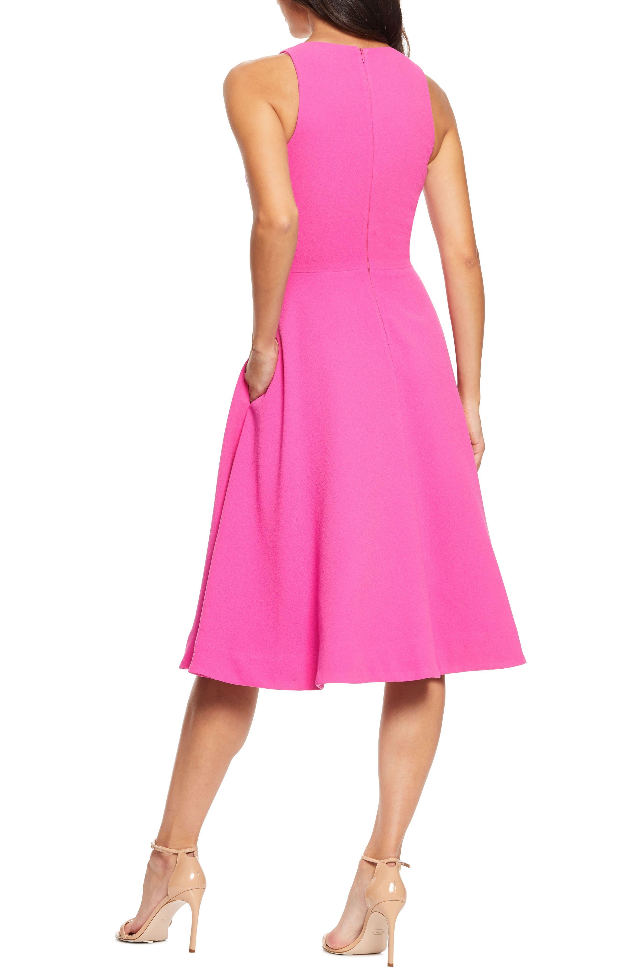 ,                             Catalina Tea Length Fit & Flare Dress,                             Alternate thumbnail 2, color,                             BRIGHT FUCHSIA