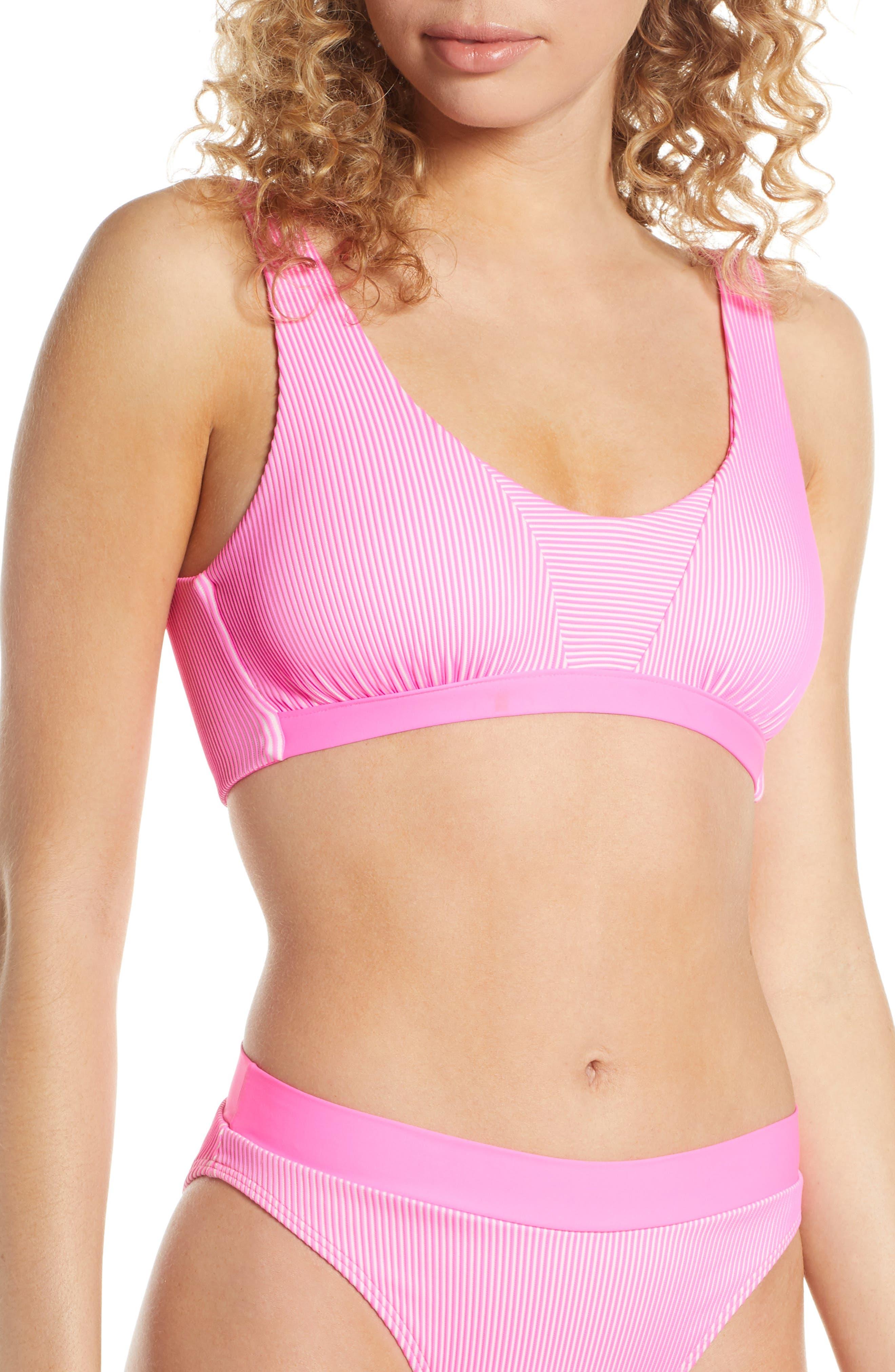 Luli Fama Babe In Miami Bralette Bikini Top, Pink