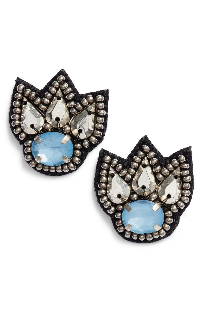 MAD JEWELS Christine Stud Earrings, Main, color, BLUE/ SILVER