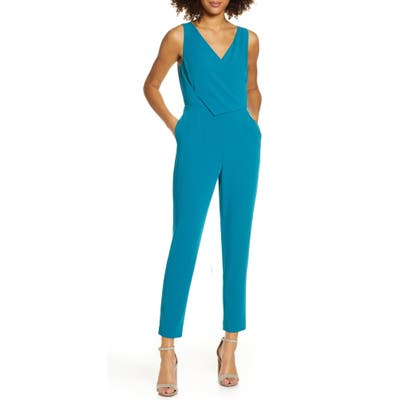 Ali & Jay Sleeveless Slim Leg Asymmetrical Jumpsuit, Blue/green