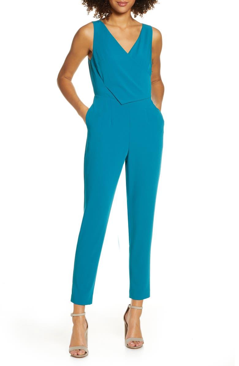 ALI & JAY Sleeveless Slim Leg Asymmetrical Jumpsuit, Main, color, OCEAN DEPTHS