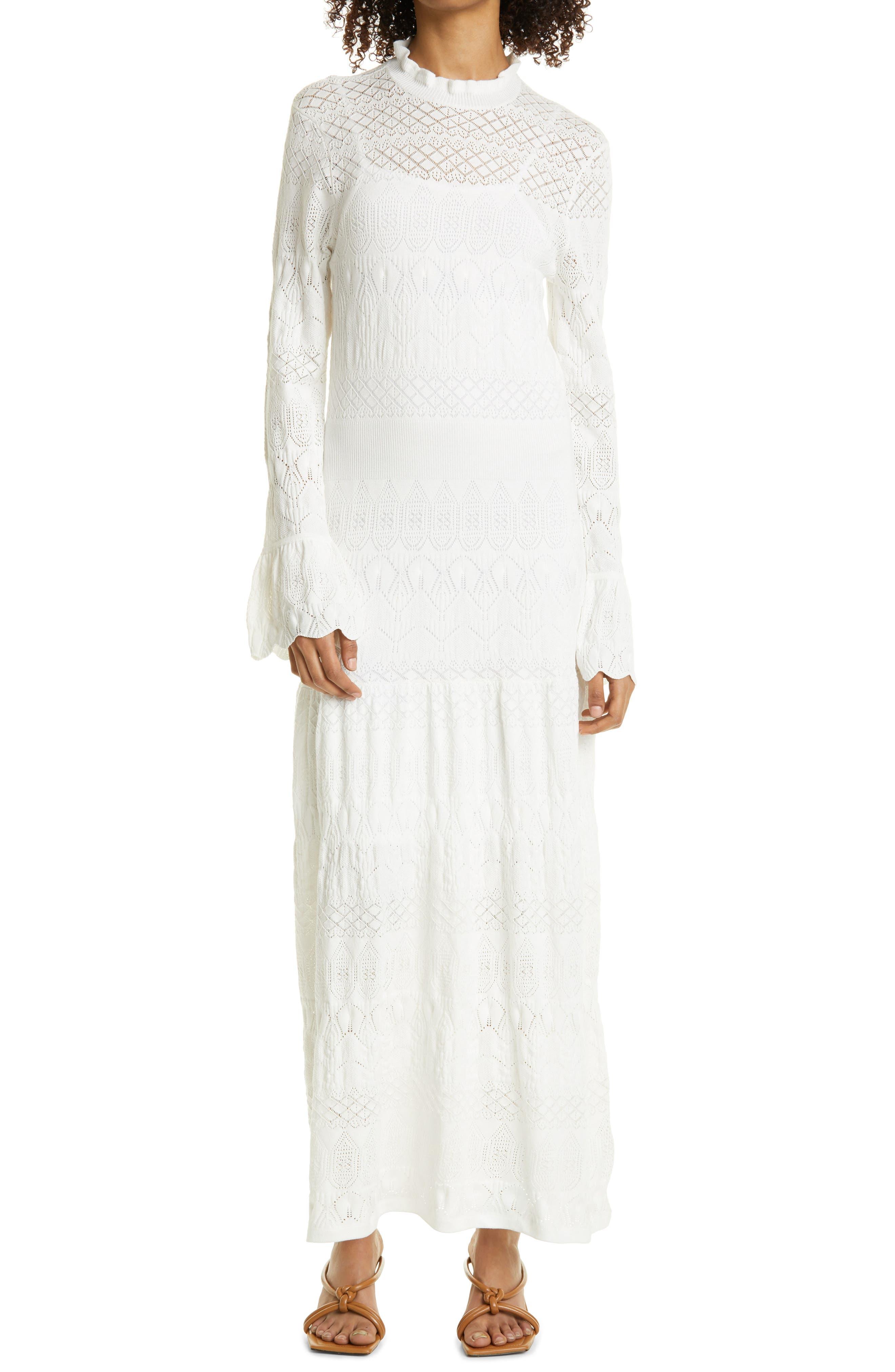 Long Sleeve Pointelle Knit Maxi Dress