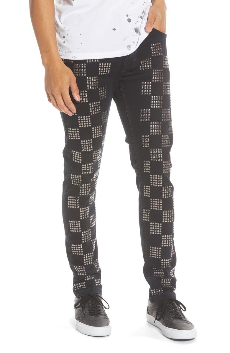 TOPMAN Check Stud Skinny Fit Jeans, Main, color, 001