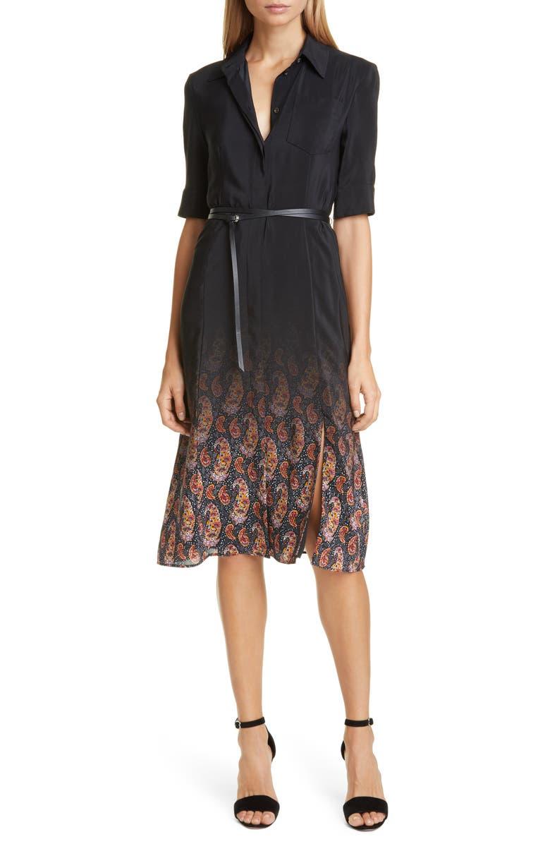 ALTUZARRA Ombré Paisley Silk Shirtdress, Main, color, BLACK