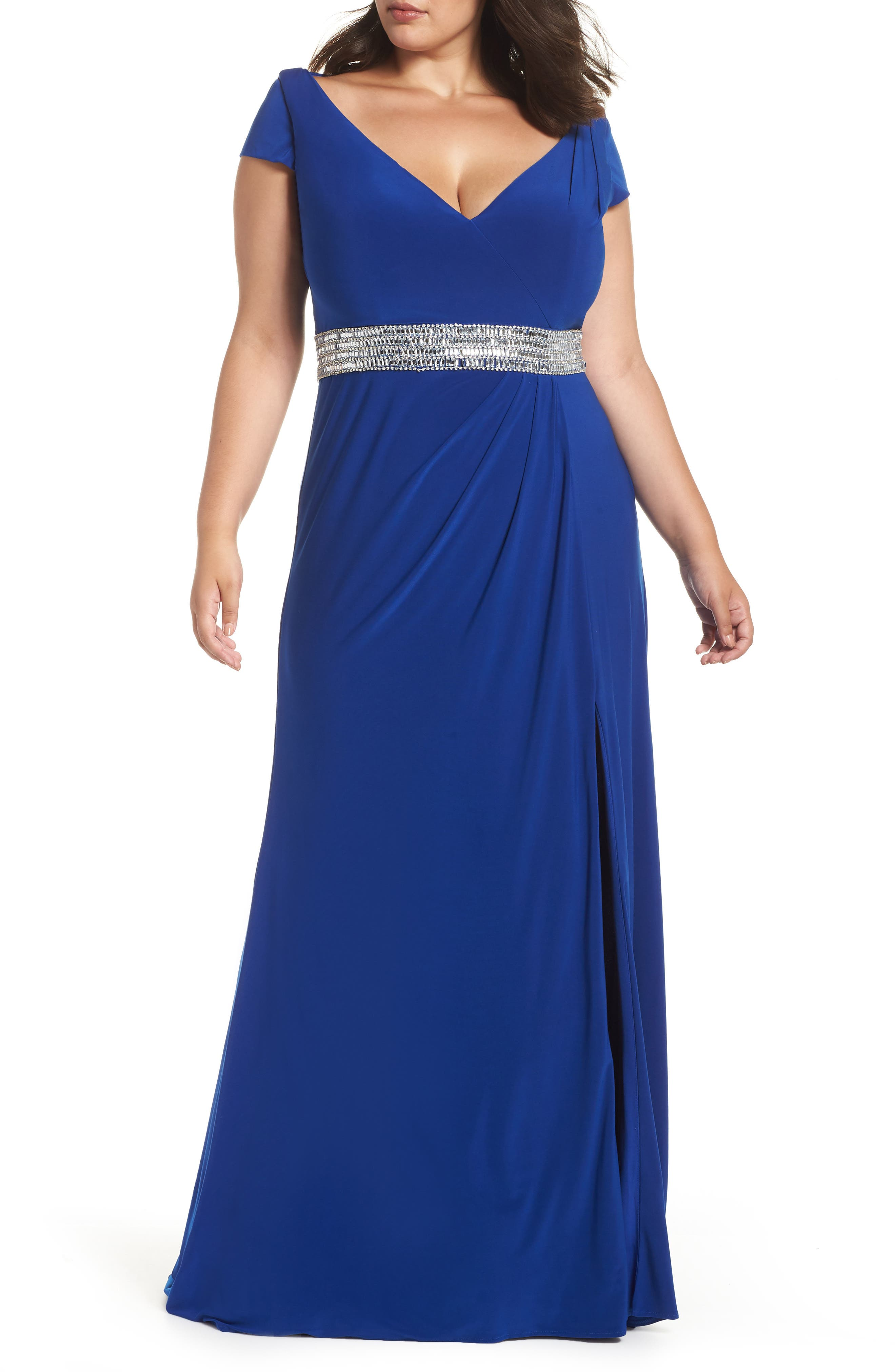 Plus Size MAC Dugall Embellished Gown, Blue