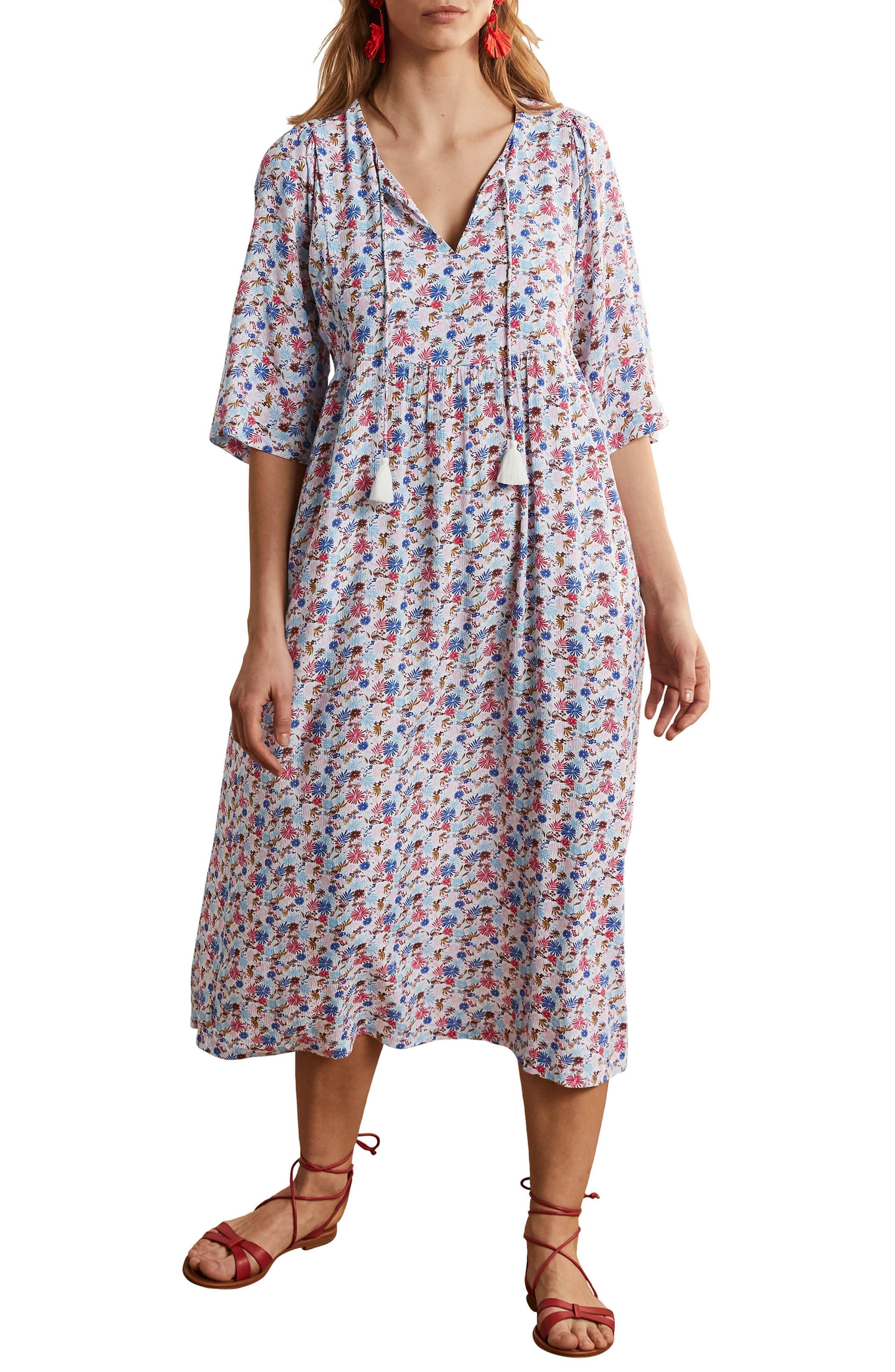 Women's Boden Empire Waist Tie Neck Midi Dress