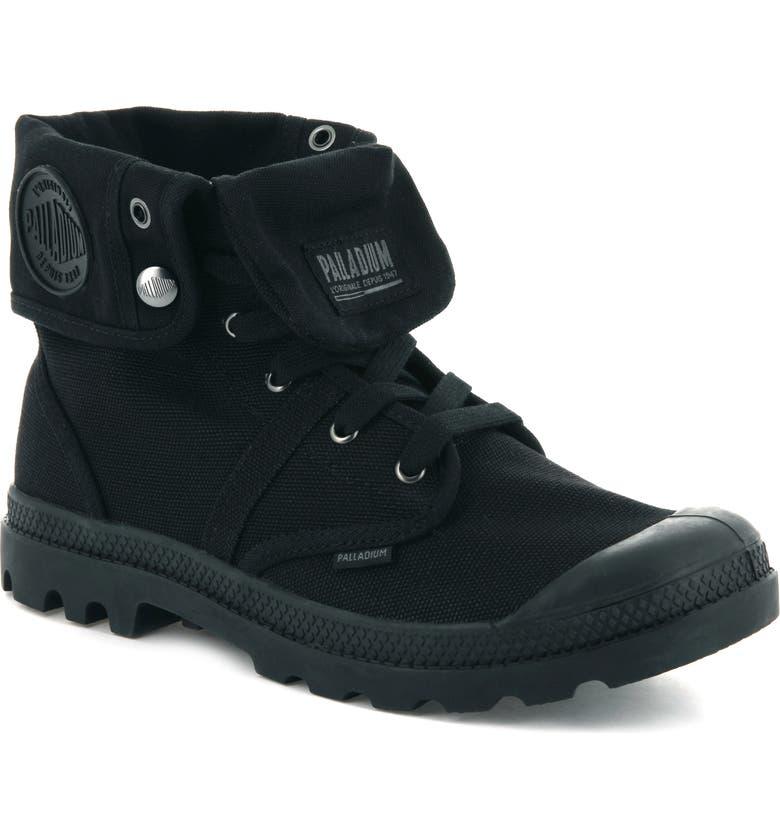 PALLADIUM 'Baggy' Distressed Boot, Main, color, BLACK/ BLACK