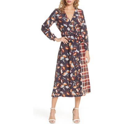 French Connection Anneli Mixed Print Long Sleeve Dress, Blue