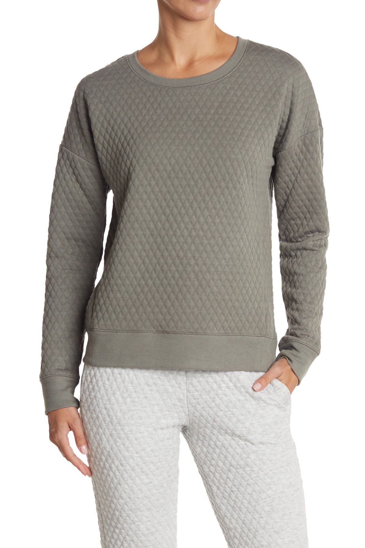 Image of 90 Degree By Reflex Quilted Crew Neck Sweatshirt