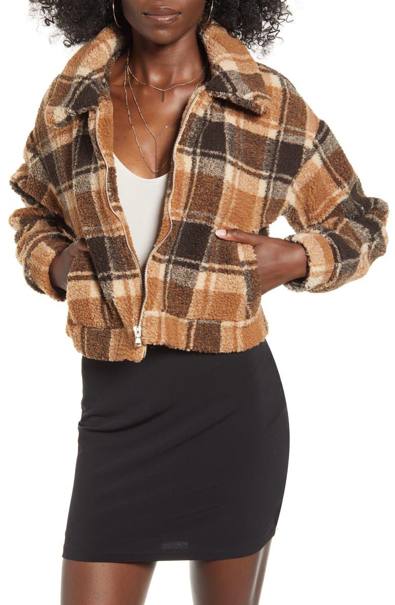 TIGER MIST Brooklyn Crop Fleece Jacket, Main, color, TAN CHECK
