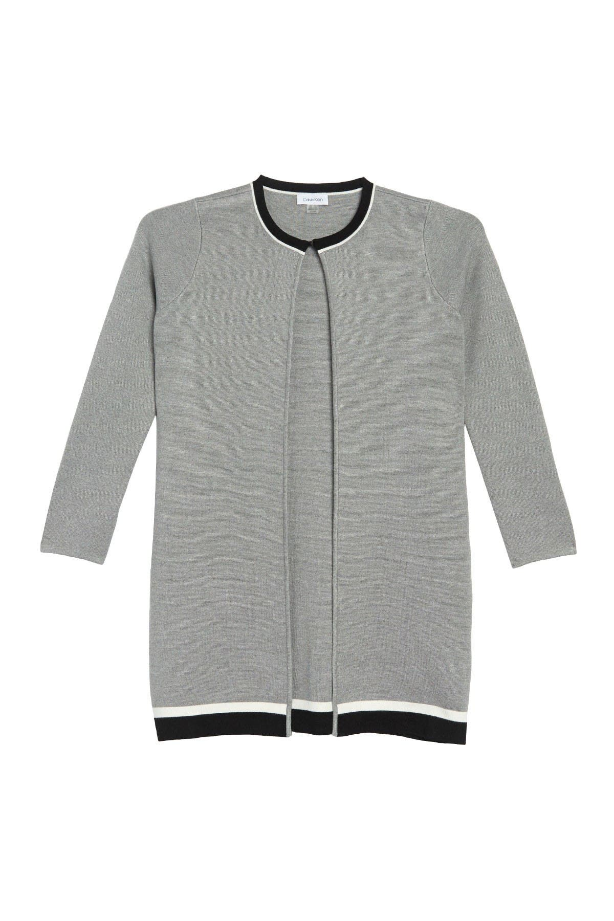 Image of Calvin Klein Striped Open Front Long Cardigan
