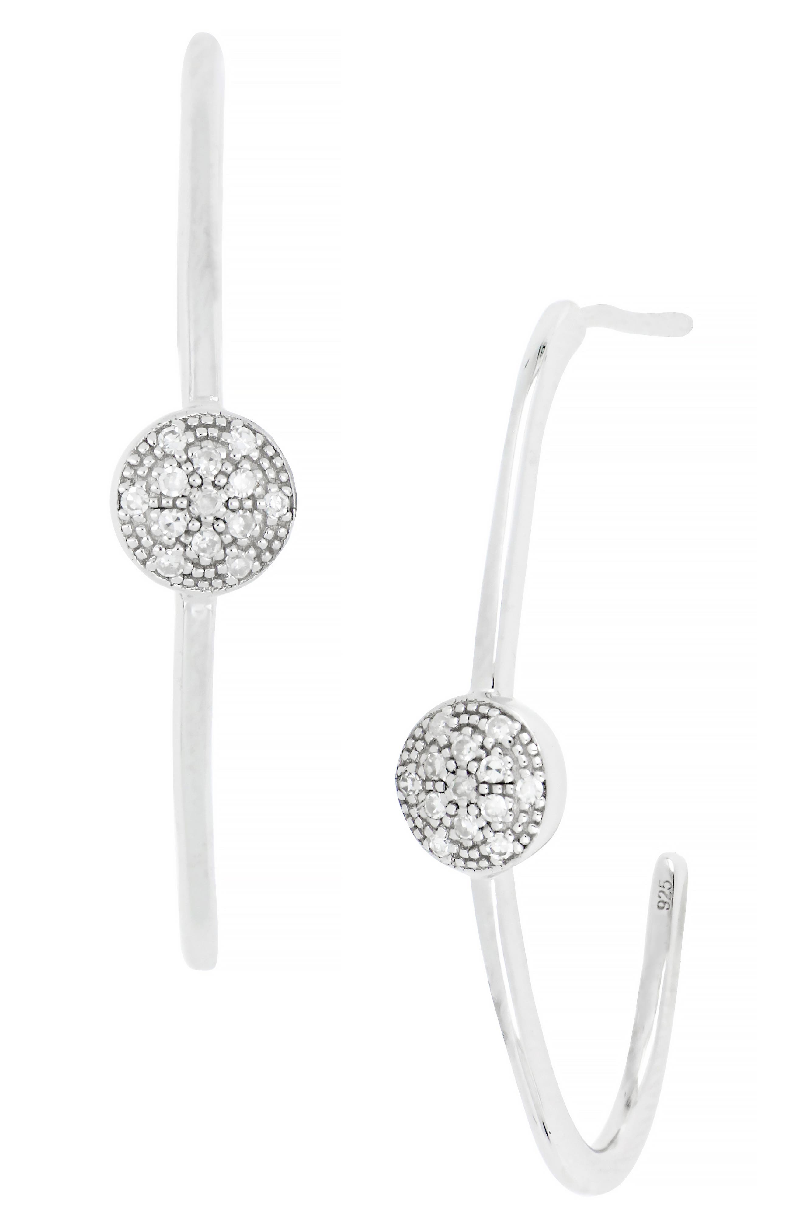 Image of Carriere Sterling Silver Pave Diamond Circle 18mm Hoop Earrings - 0.08 ctw