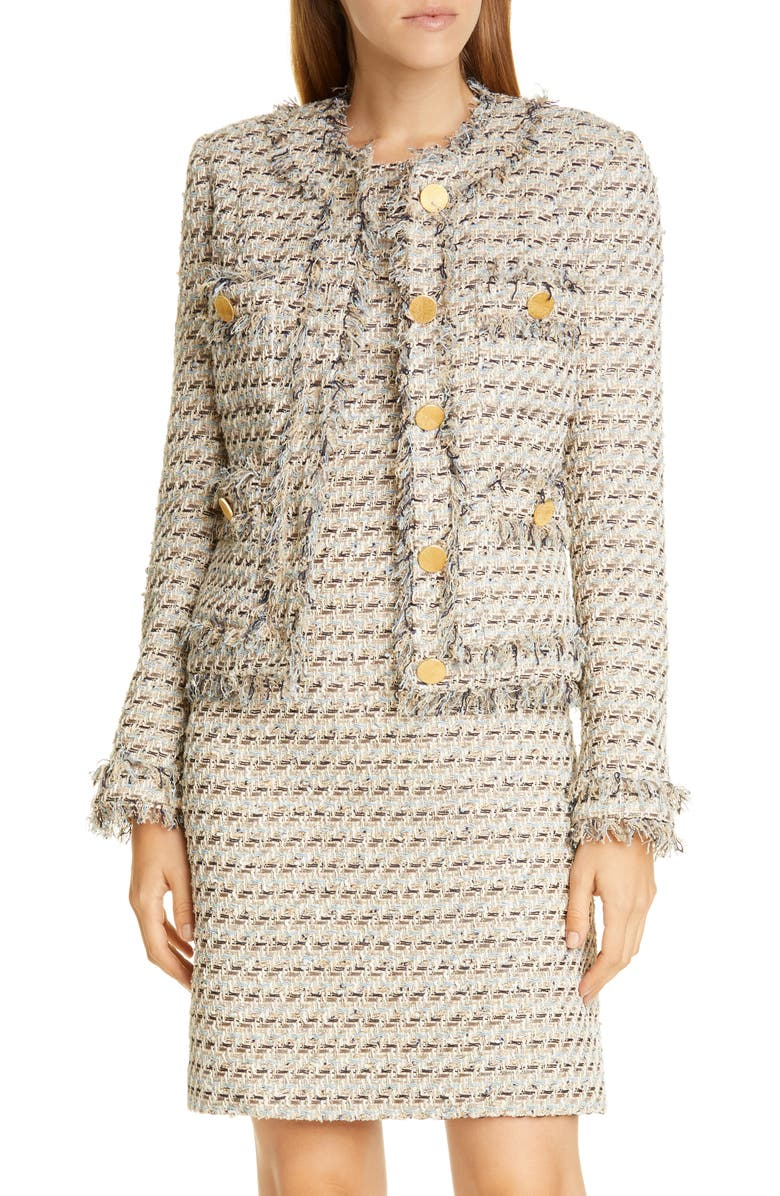 ADAM LIPPES Metallic Tweed Jacket, Main, color, IVORY MULTI