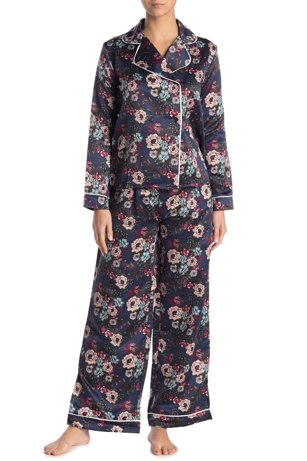 Image of Nanette Lepore Floral Satin Long Sleeve Top & Pants 2-Piece Pajama Set