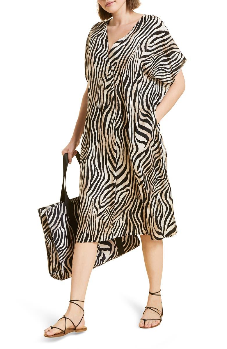 MARINA RINALDI Diaspro Zebra Print Dress, Main, color, 100