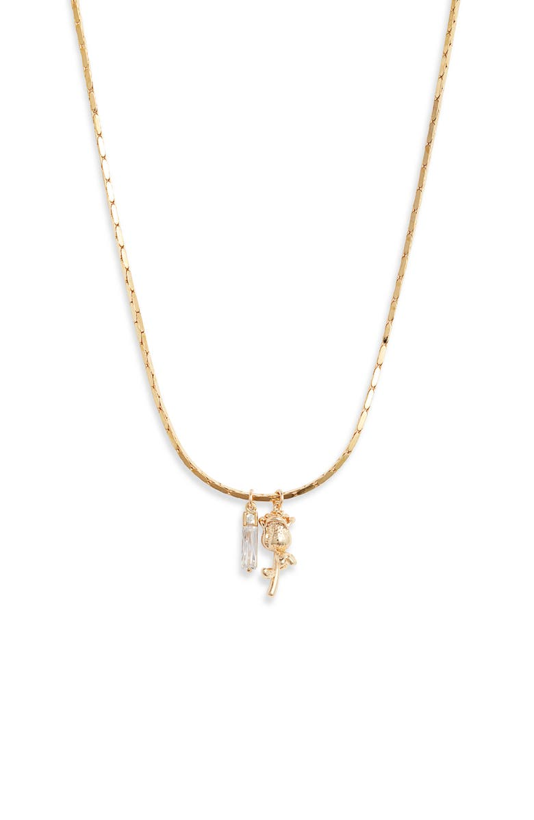 BRACHA Promise Rose Charm Necklace, Main, color, GOLD
