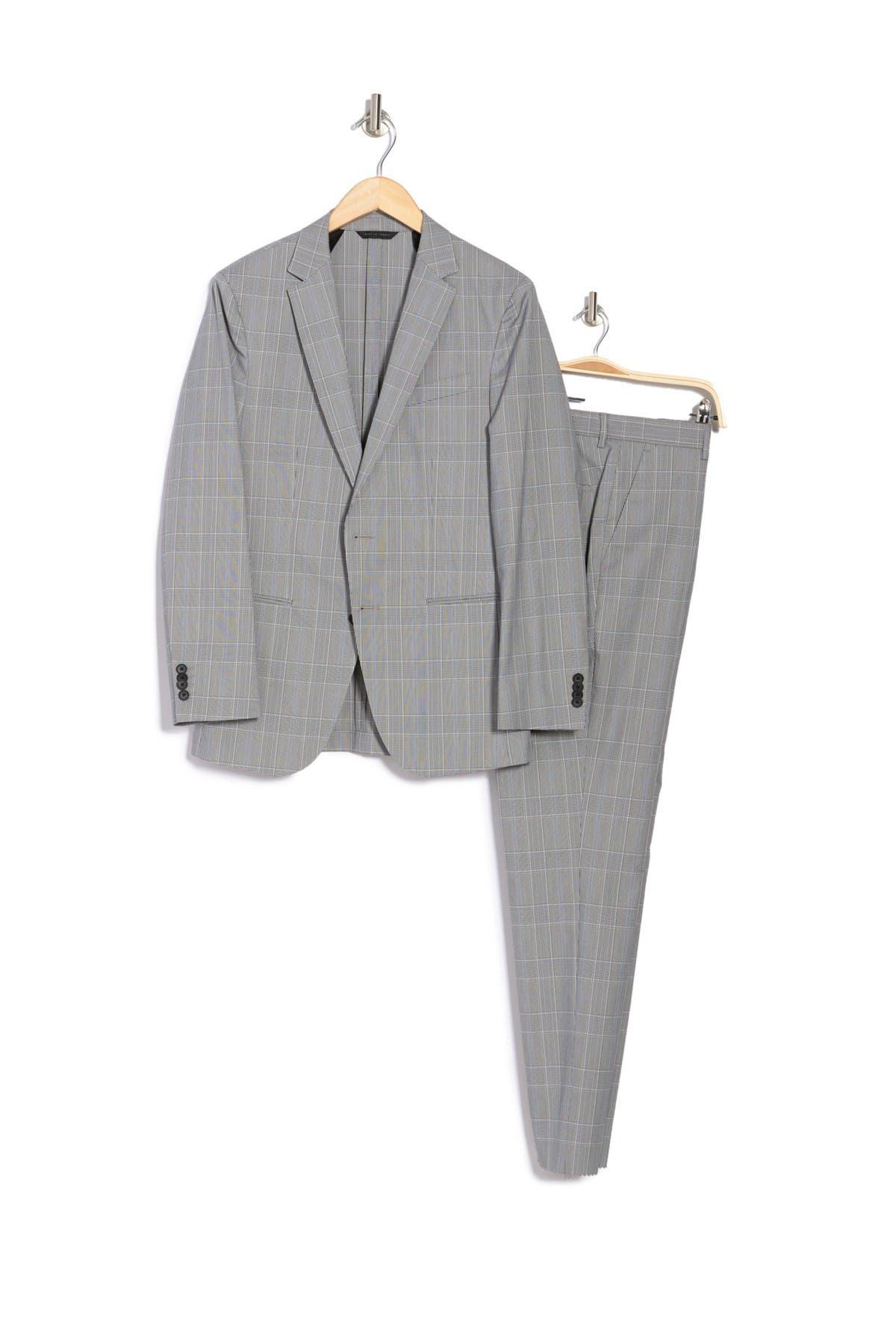 Image of BOSS Nolin Pirko Dark Blue Plaid Notched Lapel Suit