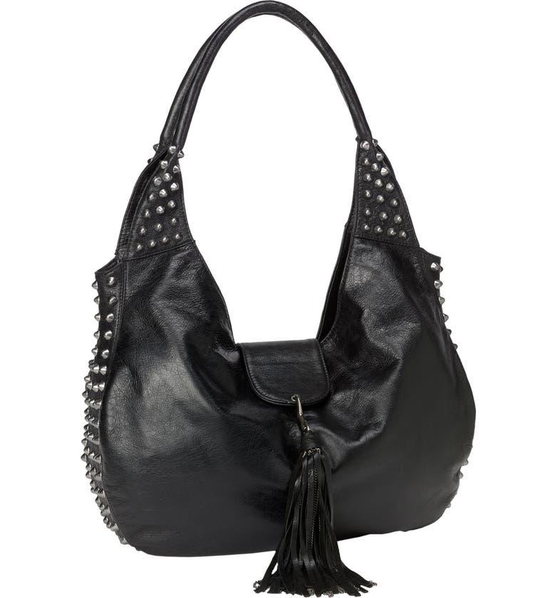CASSANDRA LA 'Naho' Tassel Flap Leather Hobo, Main, color, Black