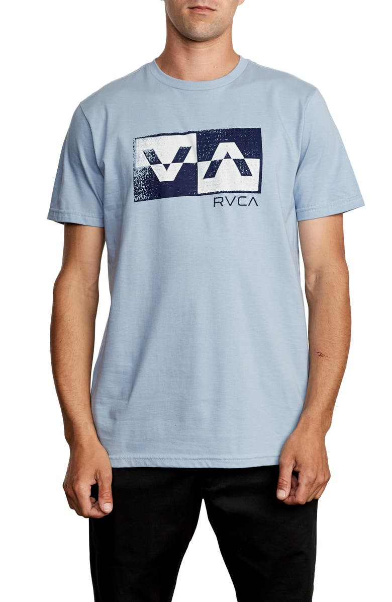 RVCA Random Box Logo Graphic T-Shirt, Main, color, DUSTY BLUE