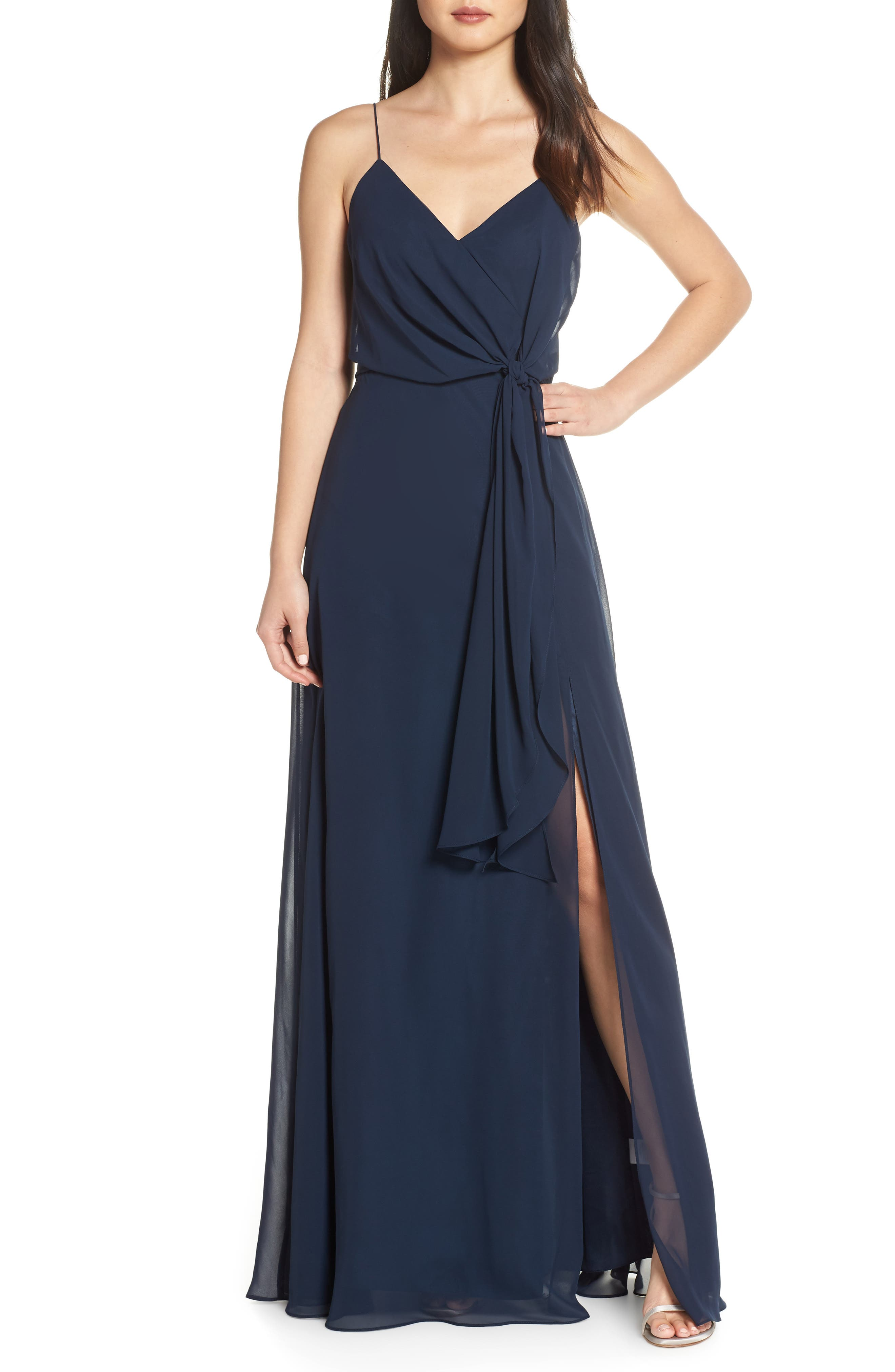Jenny Yoo Amara Chiffon Overlay V-Neck Evening Dress, Blue