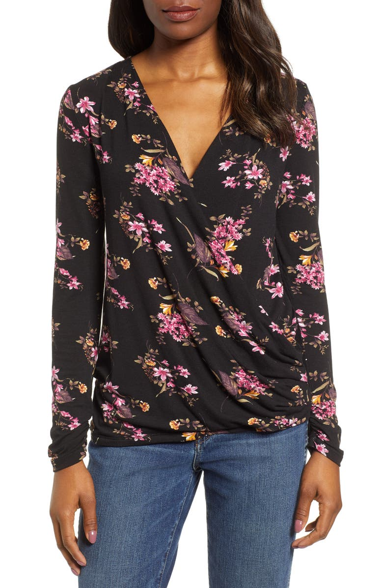 BOBEAU Faux Wrap Knit Top, Main, color, BLACK BLOSSOM PRINT