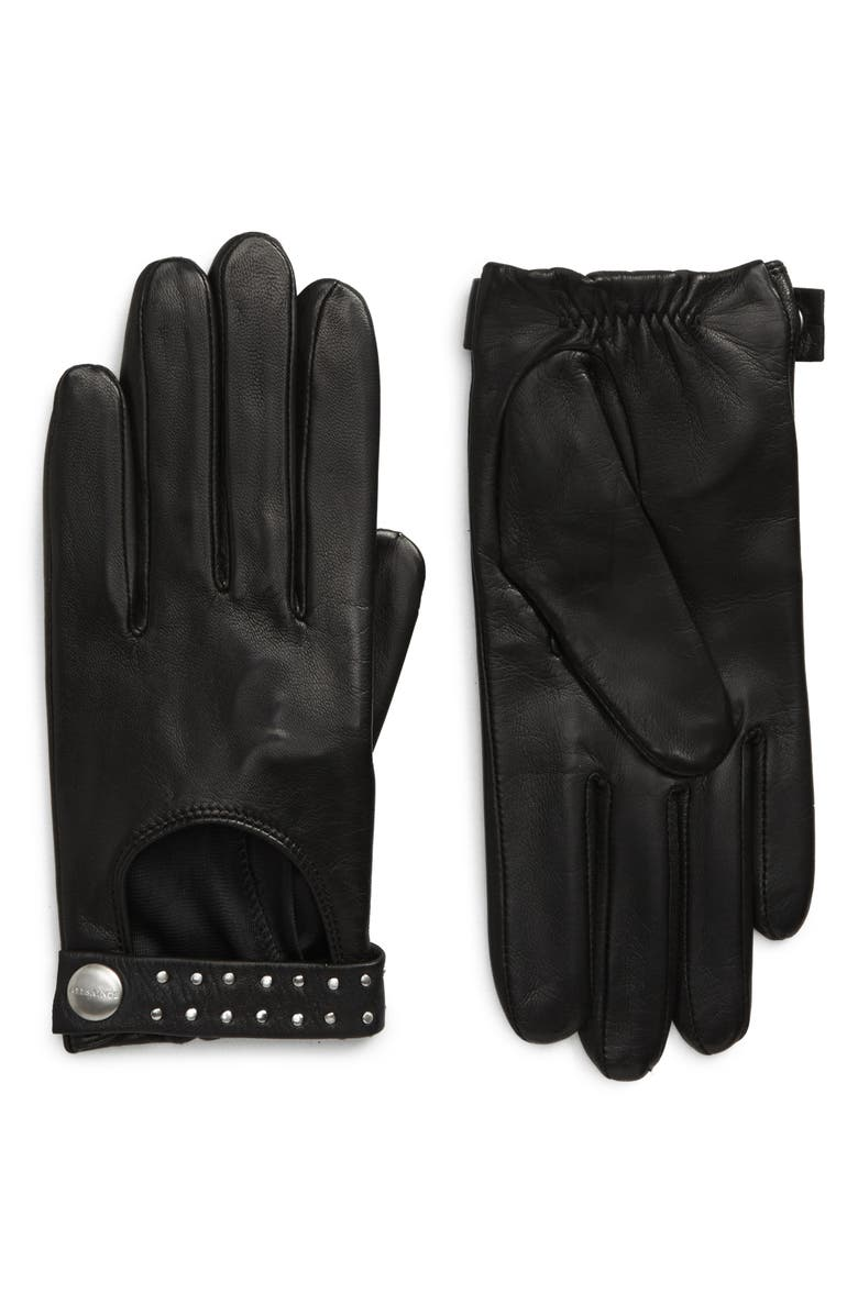 ALLSAINTS Stud Drivier Leather Gloves, Main, color, BLACK