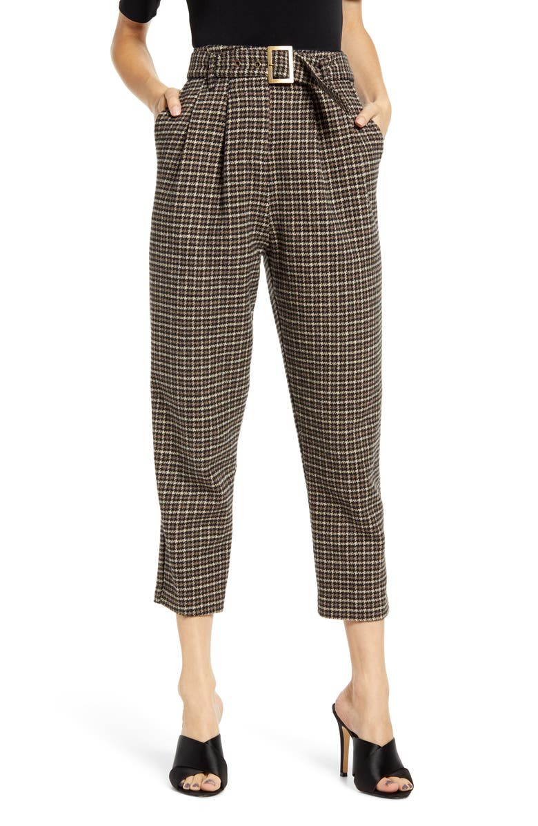 ASTR THE LABEL Larsen Crop Pants, Main, color, HAZELNUT HOUNDSTOOTH