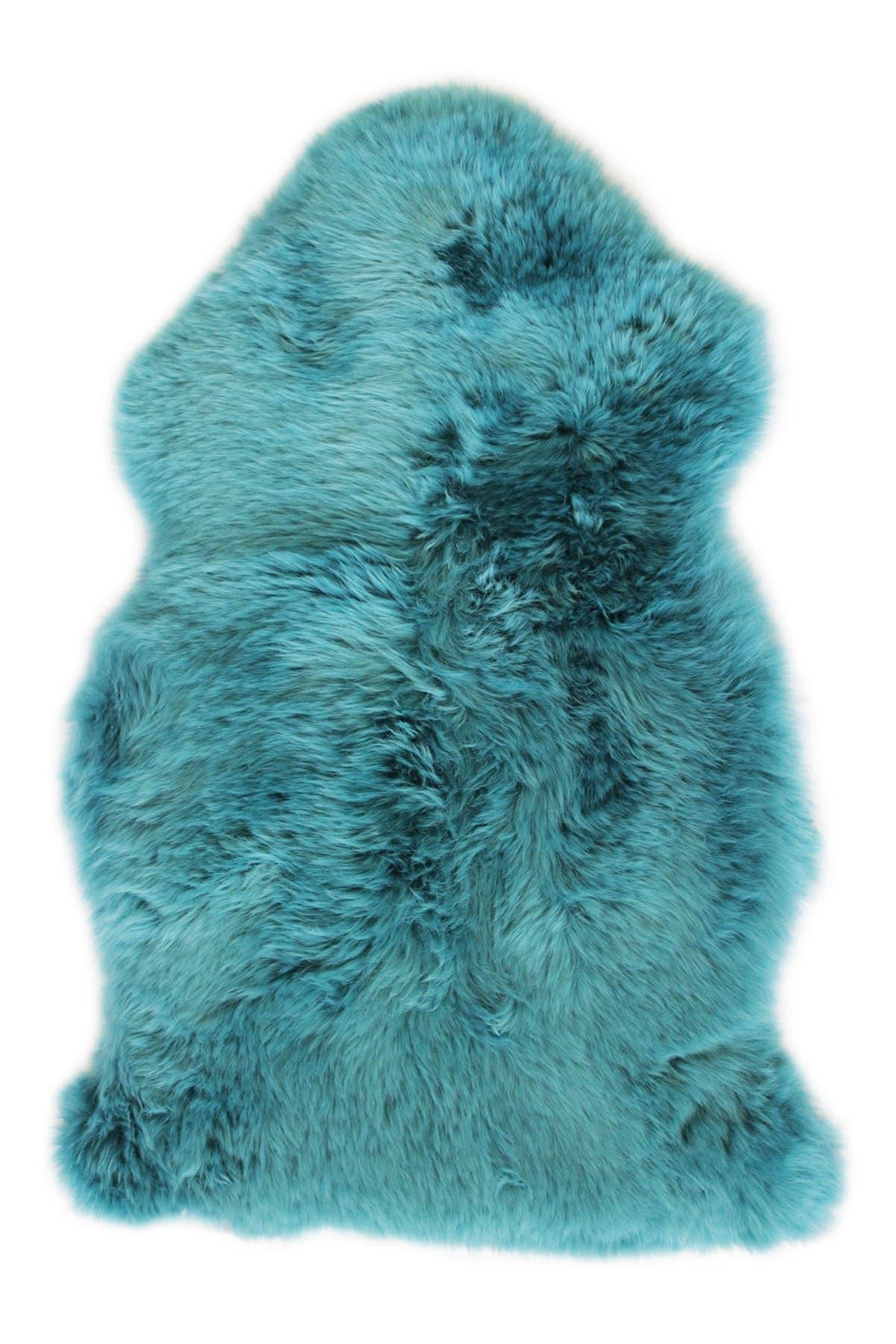 Image of Natural Milan Genuine Sheep Shearling Single Sheepskin Rug - 2ft x 3ft - Steel Blue