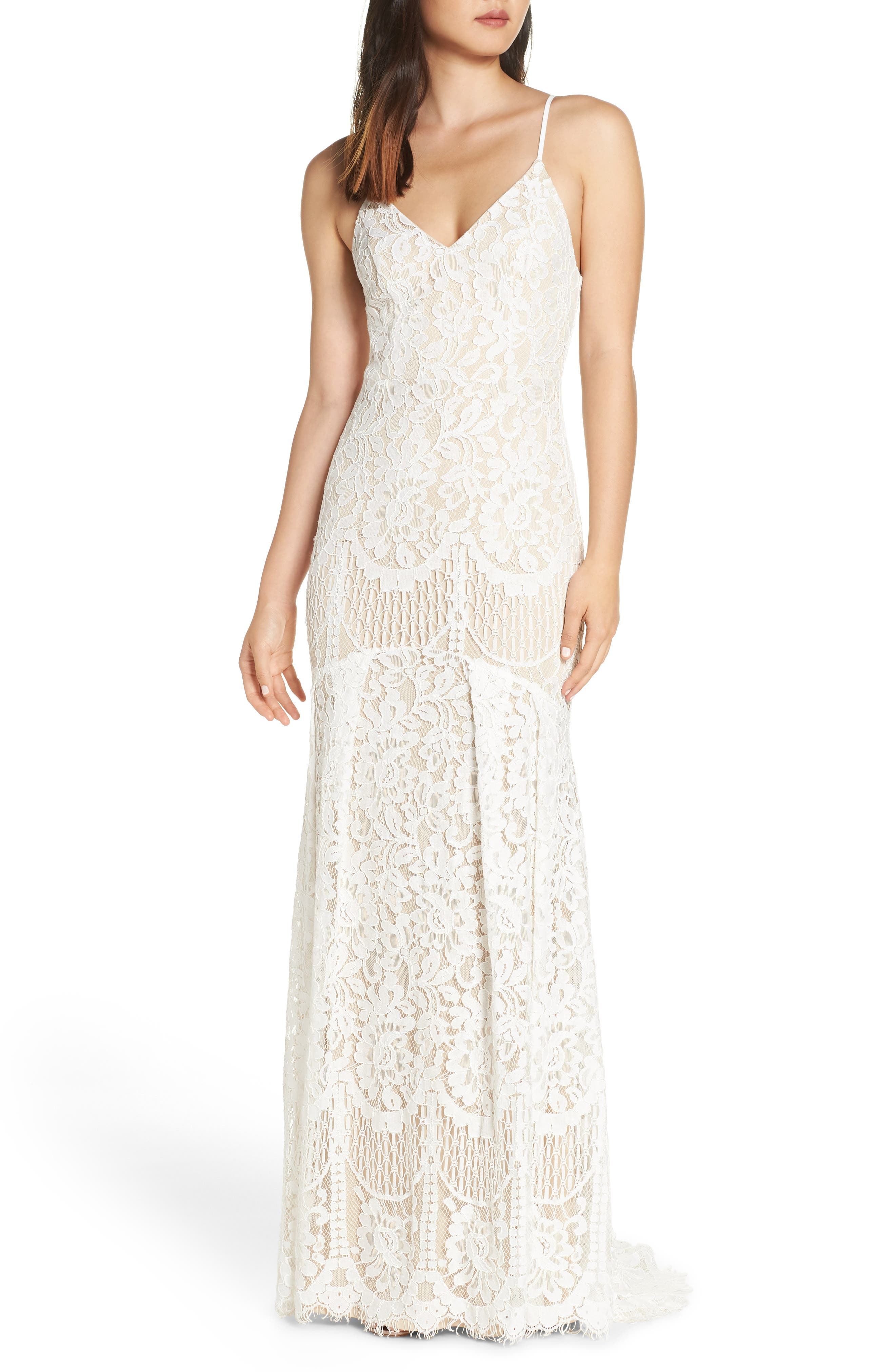 Lulus Flynn Lace Gown With Train, White