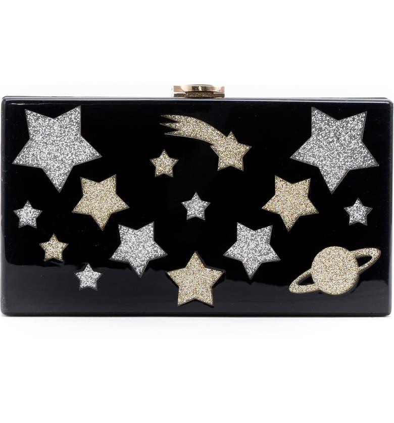 LIKE DREAMS Glitter Star Box Clutch, Main, color, Black