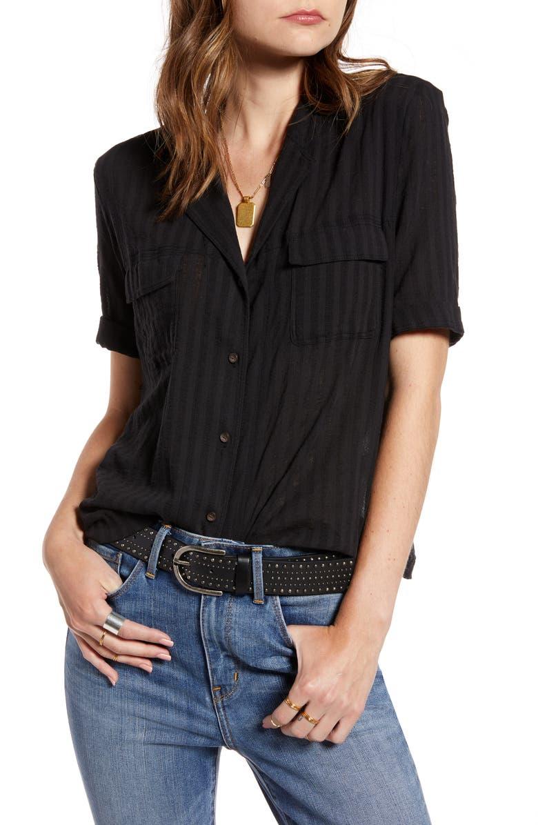 TREASURE & BOND Shadow Stripe Cotton Shirt, Main, color, BLACK