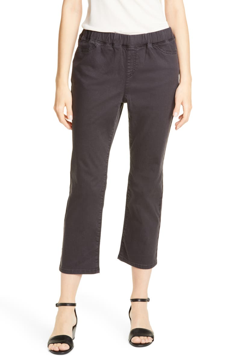 EILEEN FISHER Slim Cropped Jeans, Main, color, WASHED BLACK