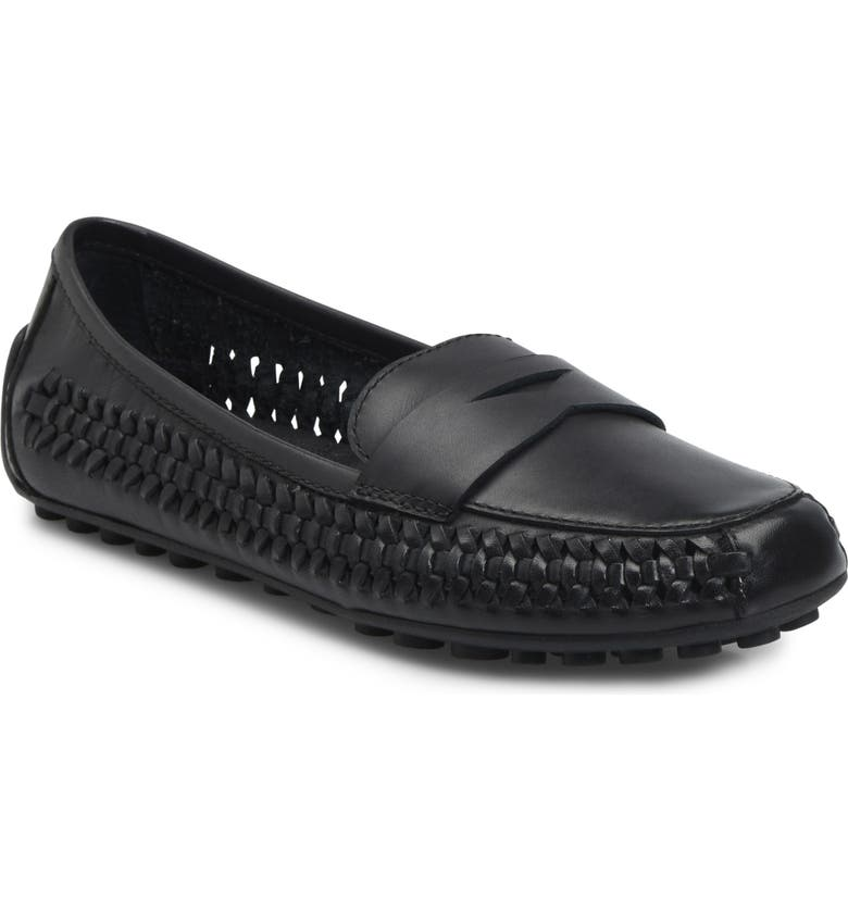 BØRN Malena Driving Loafer, Main, color, BLACK LEATHER