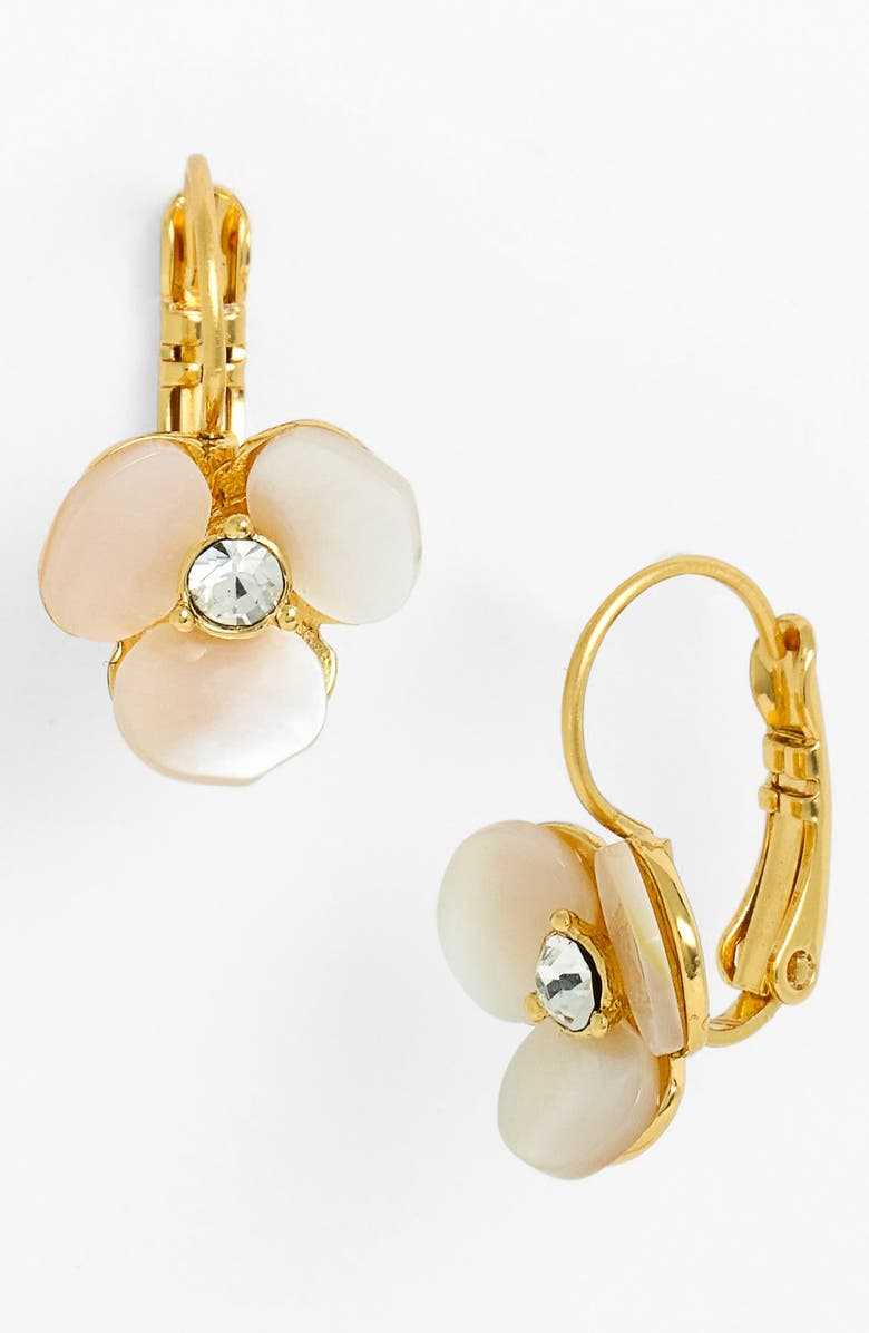 KATE SPADE NEW YORK 'disco pansy' drop earrings, Main, color, CREAM/ CLEAR/ GOLD