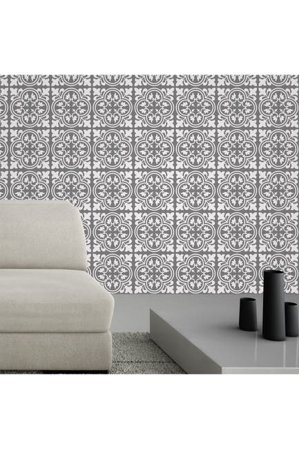 Image of WalPlus Cement Antique Floral Tulip Pattern Tiles Wall Stickers - 6 x 6 inches - 24 Pieces