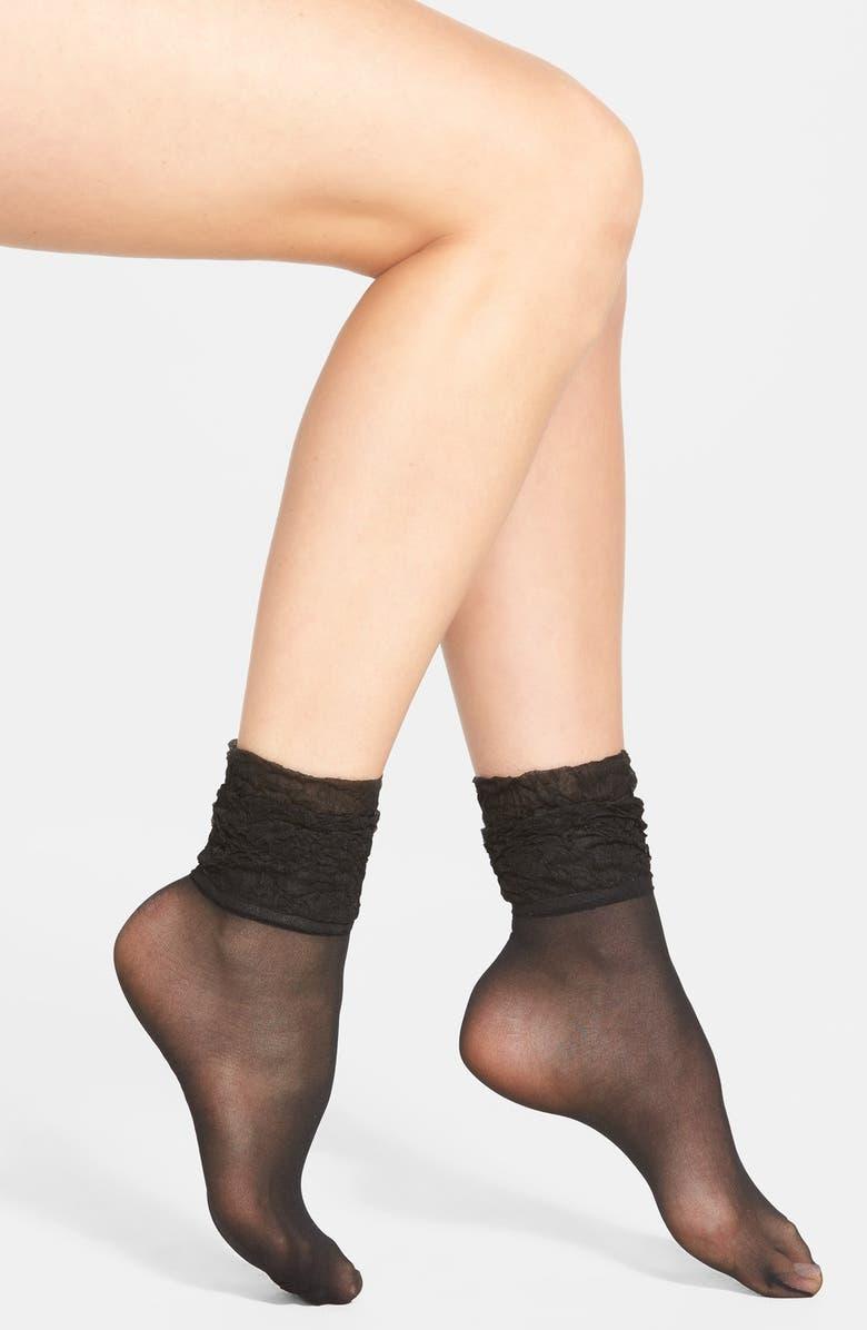 NORDSTROM Crinkle Cuff Ankle Socks, Main, color, 001