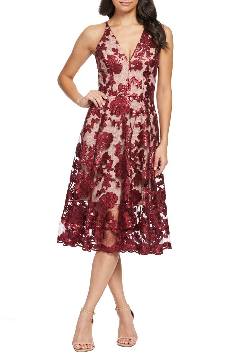 DRESS THE POPULATION Maria Embellished Fit & Flare Dress, Main, color, BERRY/ NUDE