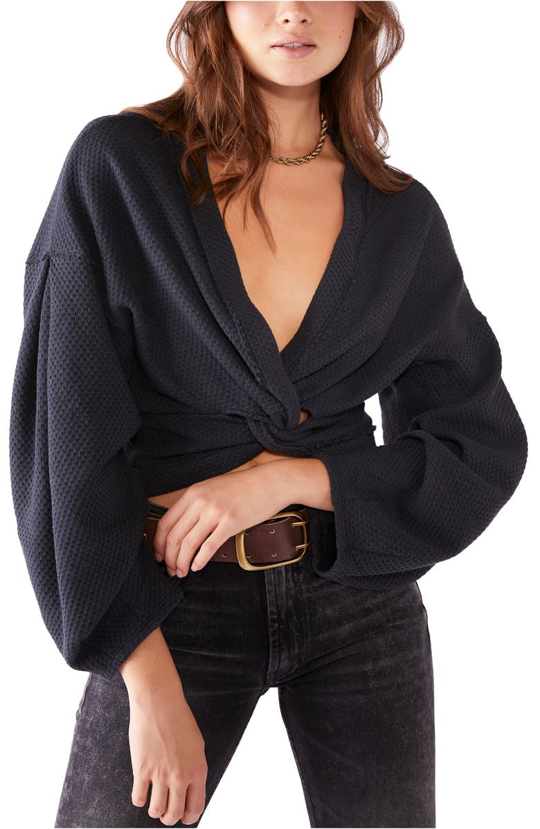 FREE PEOPLE Fall for You Twisted Top, Main, color, BLACK