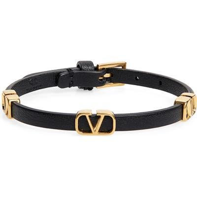 Valentino Logo Station Leather Bracelet