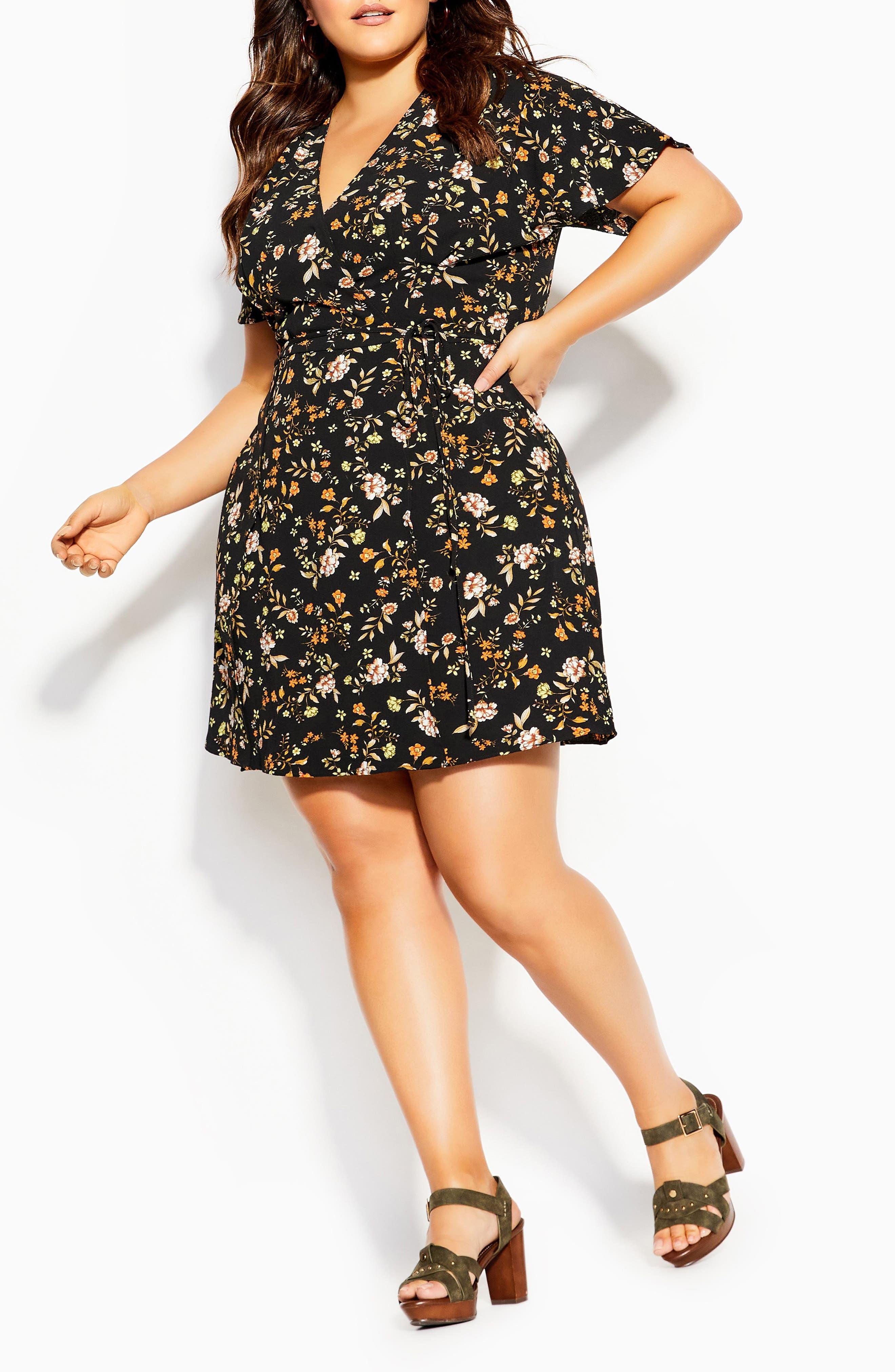 Autumn Ditsy Faux Wrap Dress
