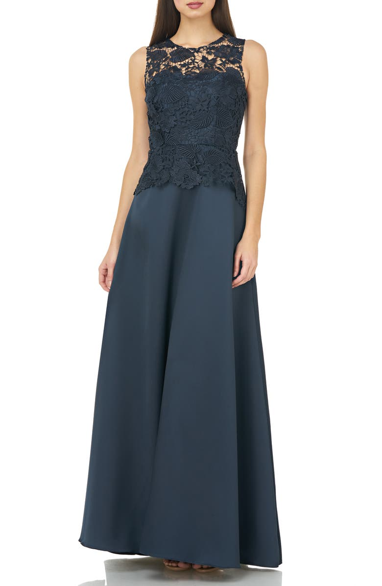 CARMEN MARC VALVO INFUSION Lace Bodice Evening Dress, Main, color, NAVY