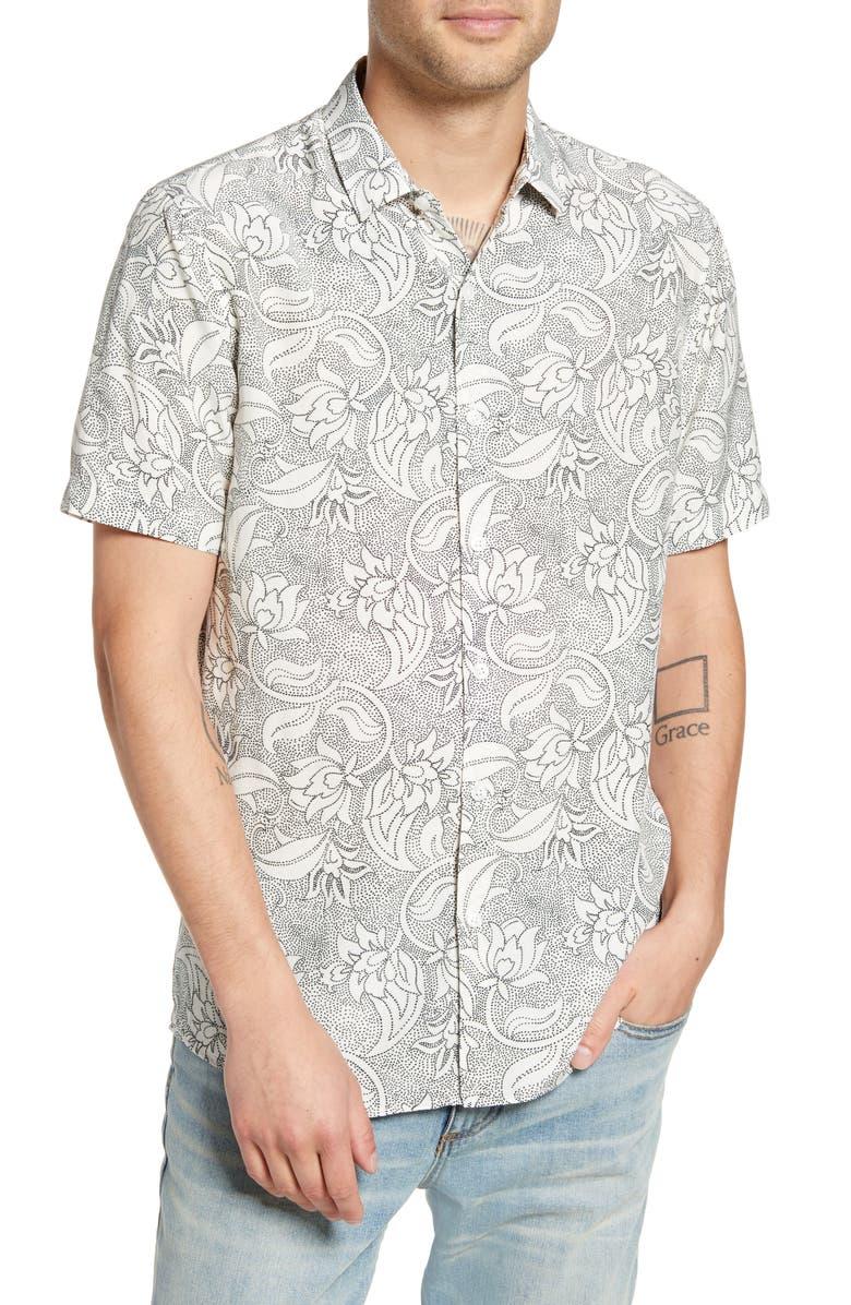 TOPMAN Premium Dot Floral Short Sleeve Button-Up Shirt, Main, color, WHITE