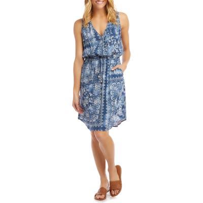 Karen Kane Print Tie Waist Dress, Blue