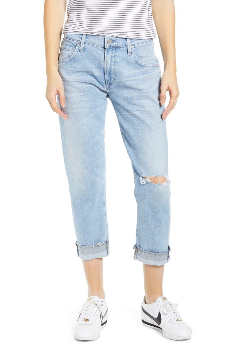 CITIZENS OF HUMANITY Emerson Crop Slim Boyfriend Jeans, Main, color, SKYLARK